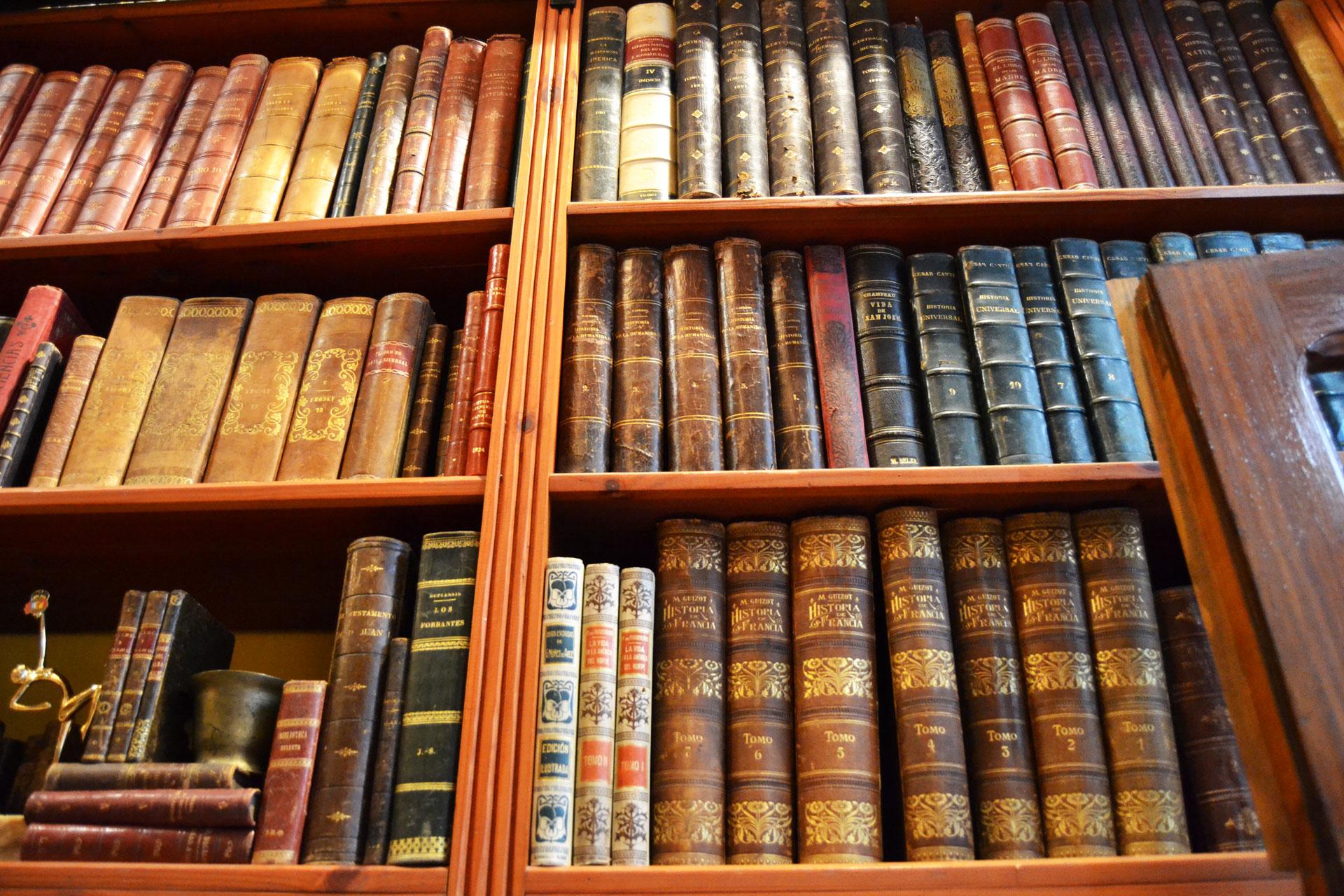 ヨーロッパのアンティーク洋書が収められた古書店の書棚