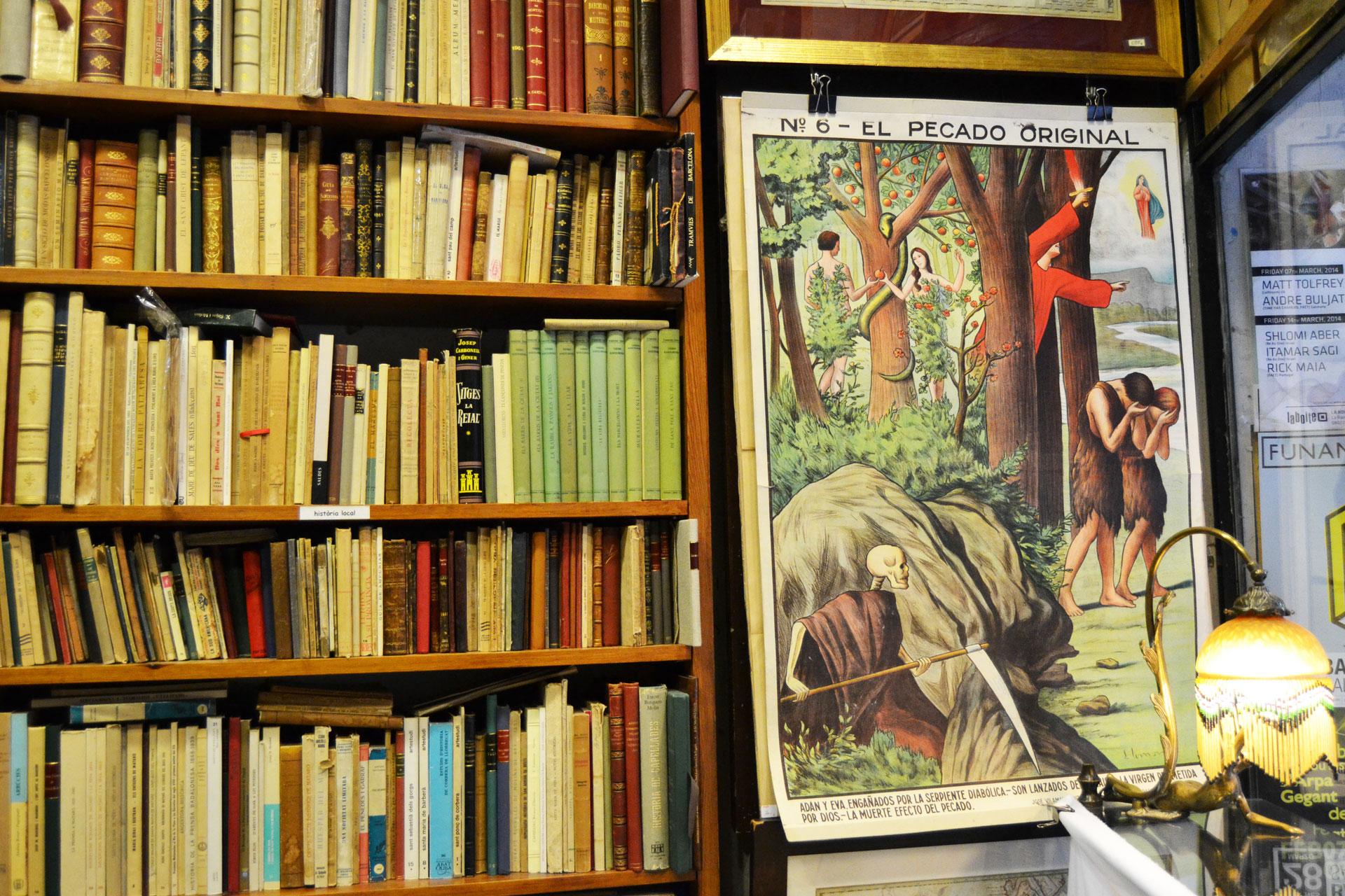 欧州の古い本が沢山収められた古書店の書棚