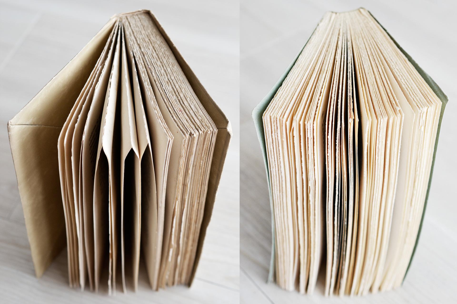 仮フランス装の本とペーパーバックの比較