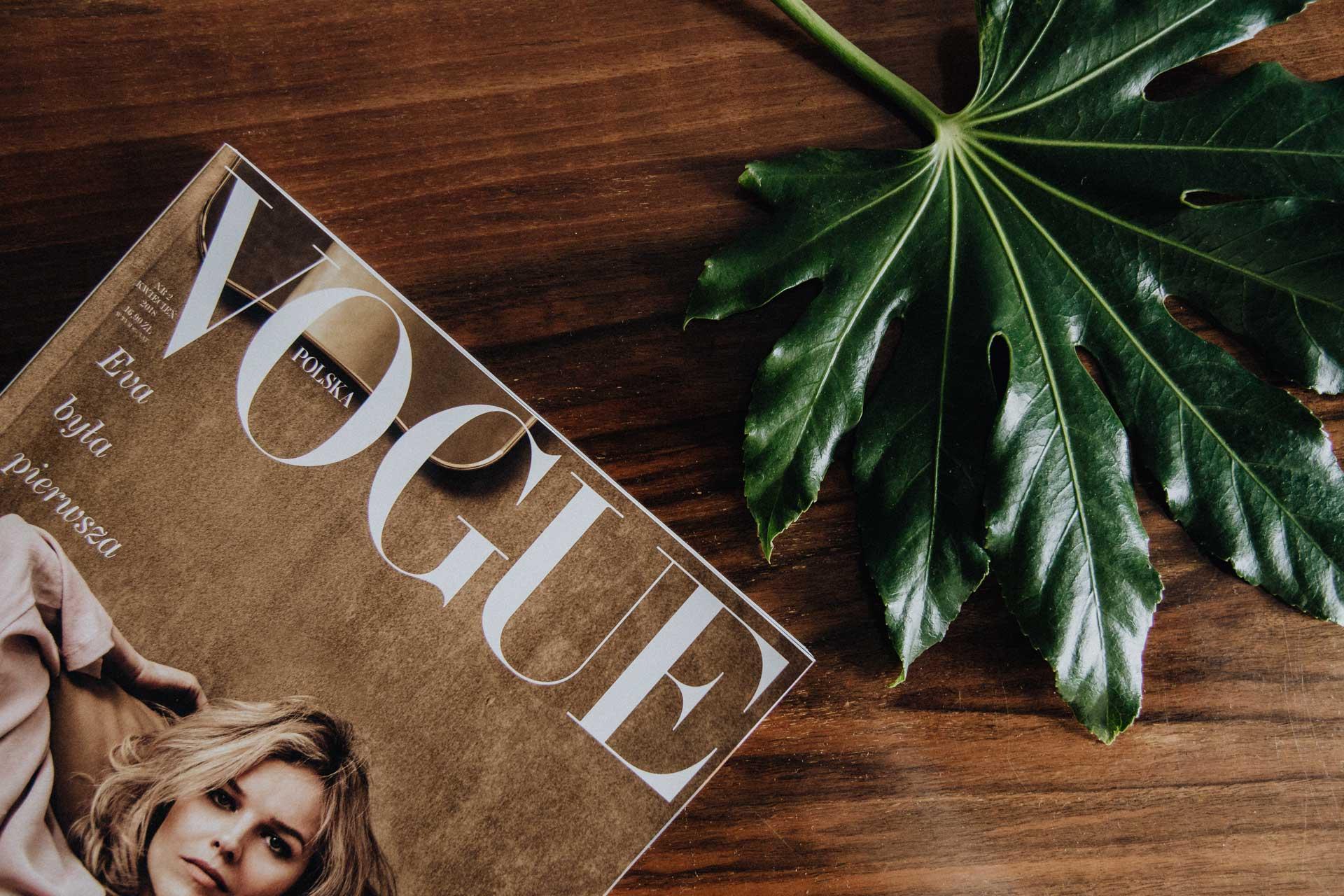 観葉植物と飾られた海外雑誌