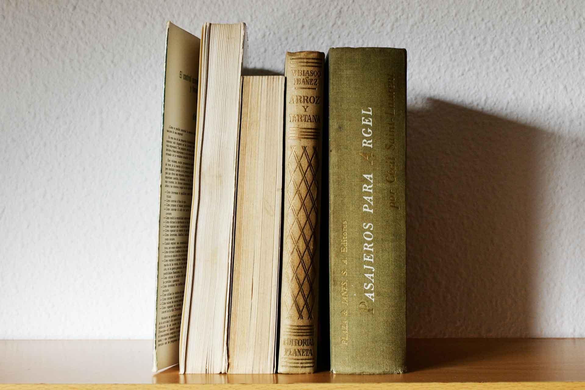布張りの本だけを表向きペーパーバックは後ろ向きに飾った洋書